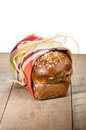 Loaf of fresh whole wheat bread artisan with cloth wrap Stock Photos