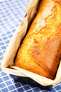 Loaf freshly baked homemade banana bread baking tray Royalty Free Stock Photo