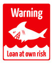 Loan risk red warning sign at own with sneaky shark Royalty Free Stock Photos