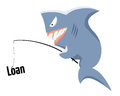Loan risk a shark with a fishing rod and as a bait Stock Images