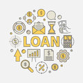 Loan round colorful illustration