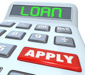Loan word calculator borrow money apply financing bank a with the and a red button with to illustrate submitting an application to Royalty Free Stock Photo