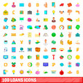 100 loans icons set, cartoon style