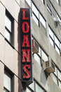 Loans sign a neon for in midtown manhattan Royalty Free Stock Photography
