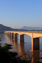 Loas japan bridge crossing mekong river in champasak southern o of Royalty Free Stock Photos