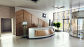 Lobby entrance with reception desk in a business center building Royalty Free Stock Photo