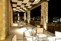The lobby in luxury hotel in night illumination peloponnes greece Royalty Free Stock Image
