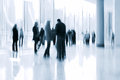 Lobby in the rush hour is made manner of blur and a blue tonality Stock Images