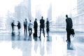 Lobby in the rush hour is made manner of blur and a blue tonality Royalty Free Stock Image
