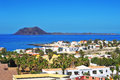 Lobos Island and Corralejo in Fuerteventura, Spain Royalty Free Stock Photo