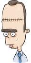 Lobotomy scar a dazed cartoon man with a Stock Photography