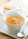 Lobster bisque closeup of with crackers Royalty Free Stock Photo