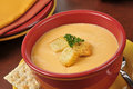 Lobster bisque with sherry a bowl of topped croutons Stock Image