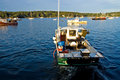 Lobster boat at work Royalty Free Stock Photo