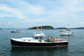 Lobster boats at frenchman bay near bar harbor ma in maine Royalty Free Stock Photo