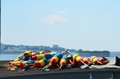 Lobster bouys on top of a roof ready to be loaded on a boat Royalty Free Stock Photography