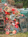 Lobster crab fish nets buoys and line a mix of oyster pods with a bunch of rope Stock Photo