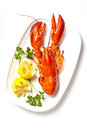 Lobster on dish with parsley and lemon slices Stock Photography