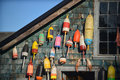Lobster floats on side of house in acadia national park maine Stock Photos