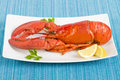 Lobster with lemon wedges Royalty Free Stock Photos