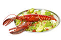 Lobster on a plate with a lemon lime restaurant Stock Image