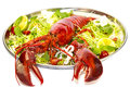 Lobster on a plate with a lemon lime restaurant Stock Photography