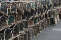 Lobster pots an array of on a quay Royalty Free Stock Photo