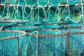 Lobster pots closeup of blue and green Royalty Free Stock Images