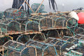Lobster pots in harbor Stock Photography