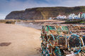 Lobster Pots on Staithes Pier Royalty Free Stock Photo