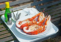 Lobster prepared outside in crail harbor and condiments by fisherman fife scotland Royalty Free Stock Photos