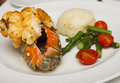 Lobster Tail with Vegetables Royalty Free Stock Photography