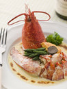 Lobster Thermidor with a Rouille Croute Stock Photo