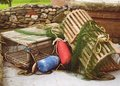Lobster traps and bouys Royalty Free Stock Photography