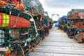 Lobster traps and buoys Royalty Free Stock Photos
