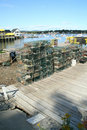 Lobster traps and floats Stock Image