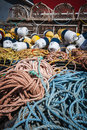 Lobster traps floats and rope in north rustico prince edward island canada Stock Photo