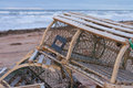 Lobster traps on northern prince edward island a trap or pot is a portable trap that lobsters or crayfish Royalty Free Stock Image