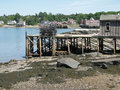 Lobster traps on wharf, Stock Image