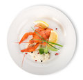 Lobster on a white plate isolated background Stock Photo