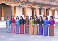 Local Bhutanese girls rehearsing a dance sequence for an upcoming festival.