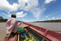 Local Bolivian man traveling on a wooden boat on Beni river, Ru