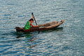 Local boy on the fishing boat , Indonesia. Royalty Free Stock Photo