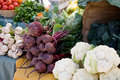 Local farmers market beets cauliflower and radishes at a Royalty Free Stock Photography