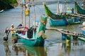 Local fishermen push traditional boat into small harbour near hi hikkaduwa sri lanka november few wooden carved hikkaduwa after Stock Photography