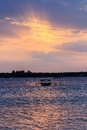 Local fishing boat at sunset gili meno lombok indonesia Royalty Free Stock Photography