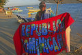 Local man selling towels at boca chica beach dominican republic Stock Photography