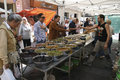 Local market of alimentation with olives la seu d urgell spain september people at the where people can buy and sell fresh Stock Photo