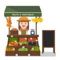 Local market farmer selling vegetables produce.