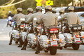Local Motorcycle Cops Ride Through Town At Georgia Festival Royalty Free Stock Photo